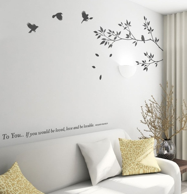 80*150cm Tree Of Life Bird Wall Stickers, Branch Birds Free Shipping DIY  Murals