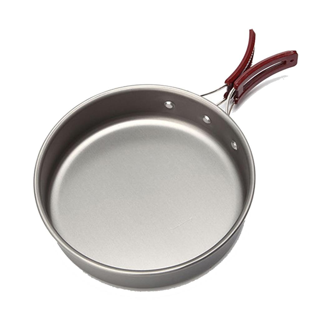 Outdoor Camping Picnic Frying Pan Folding Handle Portable Aluminum Cookware