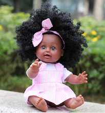 35CM African Girl Black Doll Handmade Silicone Vinyl Adorable Lifelike Toddler Reborn Baby Doll Kids Toys Gifts