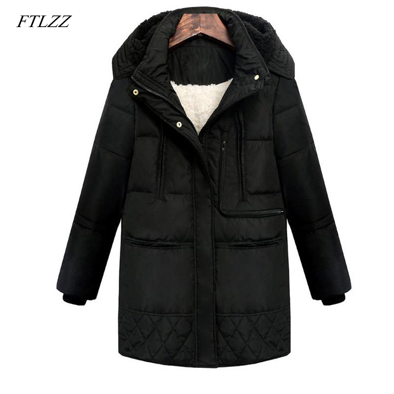 FTLZZ 2018 Winter Women Hooded Coat Thicken Warm Jacket Wool Long Parkas Female Plus Size 3xl Outerwear Ladies Chaqueta Feminino