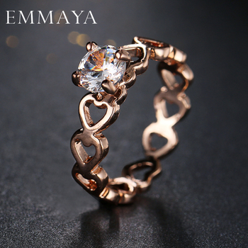 Emmaya Love Openwork Heart Stackable Finger Ring for Women Engagement & Wedding Jewelry
