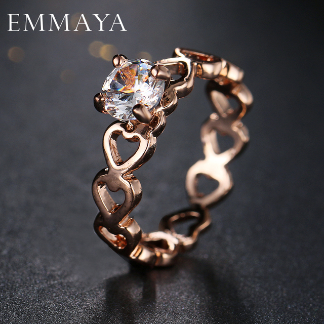 Emmaya Love Openwork Heart Stackable Finger Ring for Women Engagement & Wedding