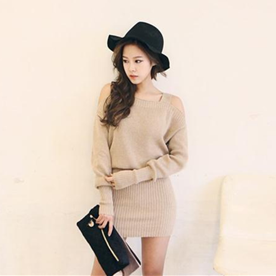 Winter Dress 2017 Korean Style Off Shoulder Strap Long Sleeve Knitted Sweater Dress Sexy Bodycon Dress Pink Vestidos D114 fashion new korean style off shoulder and irregular hemline design dress