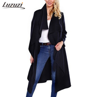 Winter Coat Women Wool Blends Trench Caot Slim Sashes Irregular Turn down Collar Long Outwear Elegant Office Lady Overcoat W2356