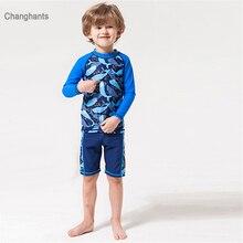 цена на 2-10 years Kid Boys Long Sleeve T-shirt & Shorts Two Pieces Swimwear Blue Fish Pattern Swimwear Children Summer Wear Body Suit