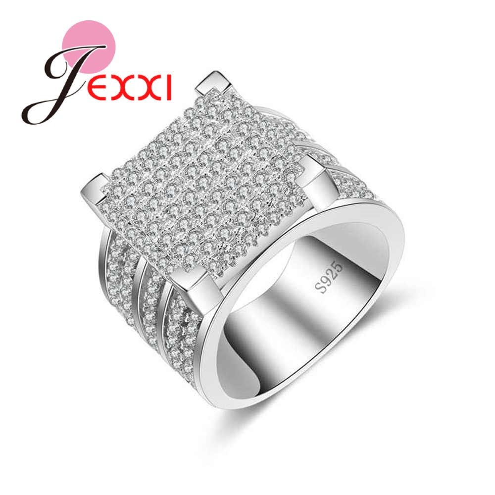 JEXXI New Arrival Full Clear Cubic Zirconia Rings For Women Men Fashion 925 Sterling Silver Wide Wedding Engagment Band Jewelry