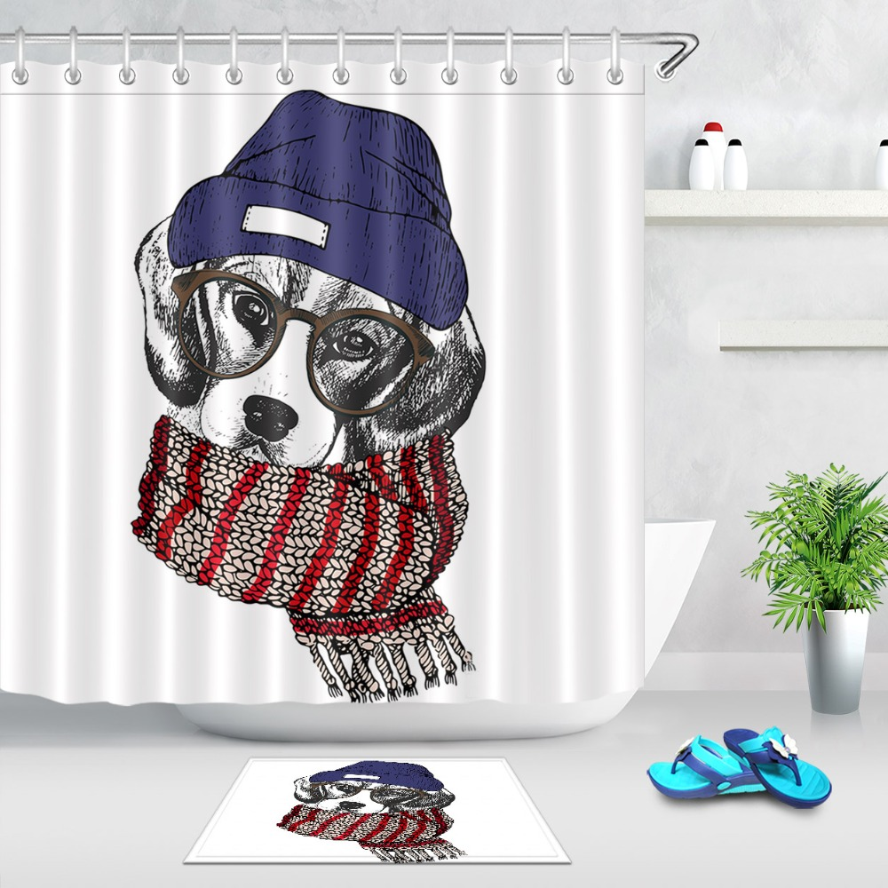 Detail Feedback Questions About LB Funny Literary Dog Wearing A Hat Scarf And Glasses White Shower Curtain Mat Set Bathroom Fabric For Kid Bathtub Art