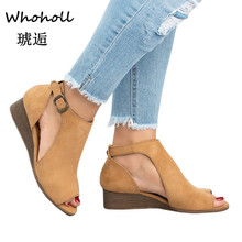 Whoholl 2019 Woman Wedge Buckles Fish Mouth Sandals Gladiator Women Mid Heel Ladies Summer Peep Toe Shoes