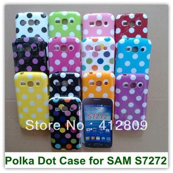 OEEKOI Polka Dots TPU Back Skin Covers Case for Samsung Galaxy Ace 3 S7272 Free Shipping image