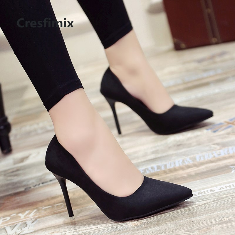 Cresfimix Women Fashion Sweet Spring & Summer Slip On High Heel Shoes Lady Casual Sweet Street & Office High Heel Pumps A2912