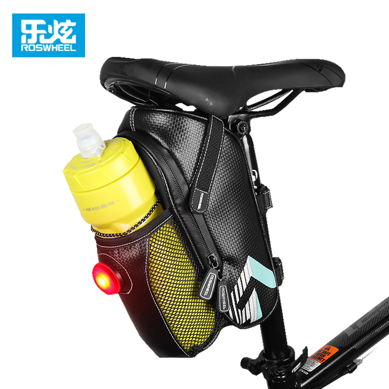 ROSWHEEL Bicycle Saddle Bag Outdoor Cycling Mountain Bike Back Rainproof Seat Tail Pouch Maintenance Tool Bags with taillight