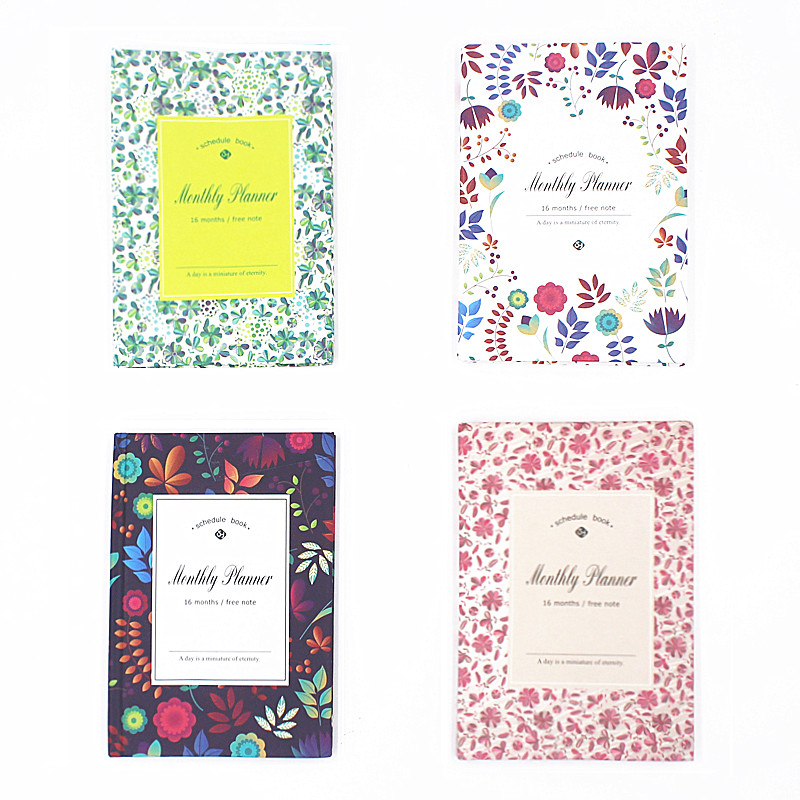 цена Korean Floral Notebook Yearly Monthly Planner Schedule Book notepad Notebooks & Journals Cute Kawaii School Stationery store