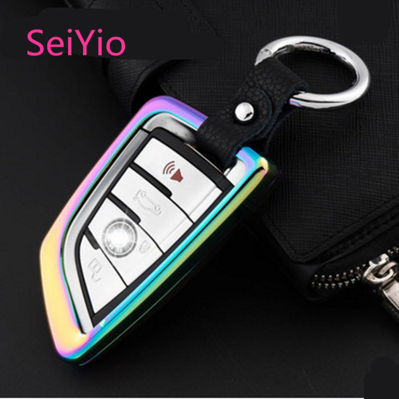 Hot Selling SeiYio Car key ring case cover for all BMW Alloy& Leather Creative style car cover for BMW smart key