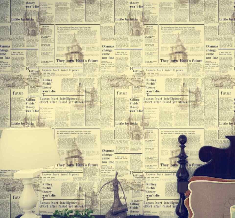 Beibehang 英語古新聞壁紙アメリカ郷愁白黄色手紙模造新聞防水壁紙