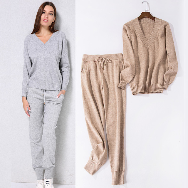 Casual Knitted Trousers+Jumper Tops Clothing Set