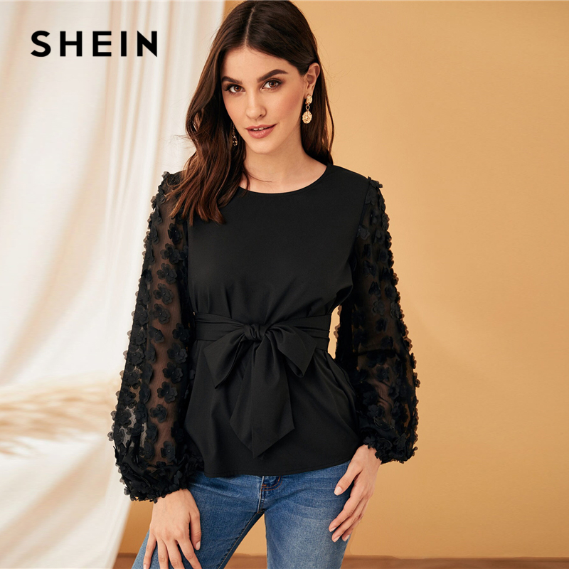 SHEIN Appliques Lantern Sleeve Belted White Blouse Women Tops Spring Elegant Long Sleeve Round Neck Solid Tops and Blouses