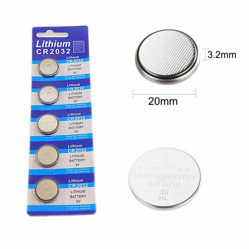 5pcs card  2032 CR2032 3V 220mAh lithium Button Coin Battery in Bulk for watches, toys, flashlights etc