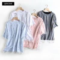 New Yami Kawaii Womens Stars Mesh T Shirts Short Sleeved Pink Womens Tee Shirt Femme Streetwear Pink Blue Basic T Shirts 2019
