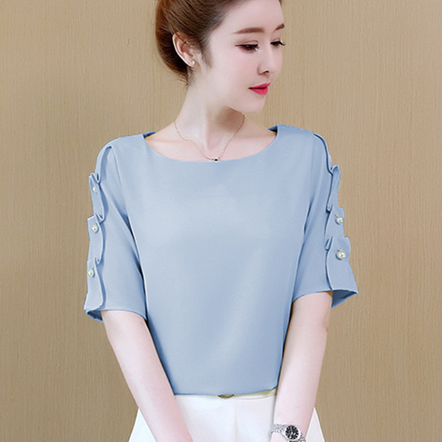fbf7596016af Blusa de chifón de verano para mujer, Tops y blusas de manga corta para  mujer