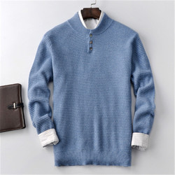 100% кашемировый толстый вязаный мужской Повседневный свитер с пуговицами, прямой пуловер, 3 цвета, S-2XL, розничная и оптовая продажа
