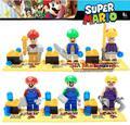 6 unids marvel super hero super mario bros mario luigi figuras building blocks ladrillos niños juguetes para bebés