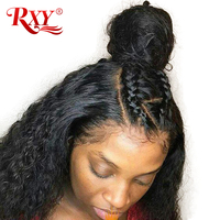 RXY Pre Plucked Full Lace Human Hair Wigs For Women Black Brazilian Deep Wave Lace Front Human Hair Wigs With Baby Hair Non Remy