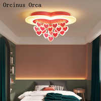Modern simple LED pink love ceiling lamp Girl Bedroom Princess Room children's room lamp cartoon creative romantic ceiling lamp