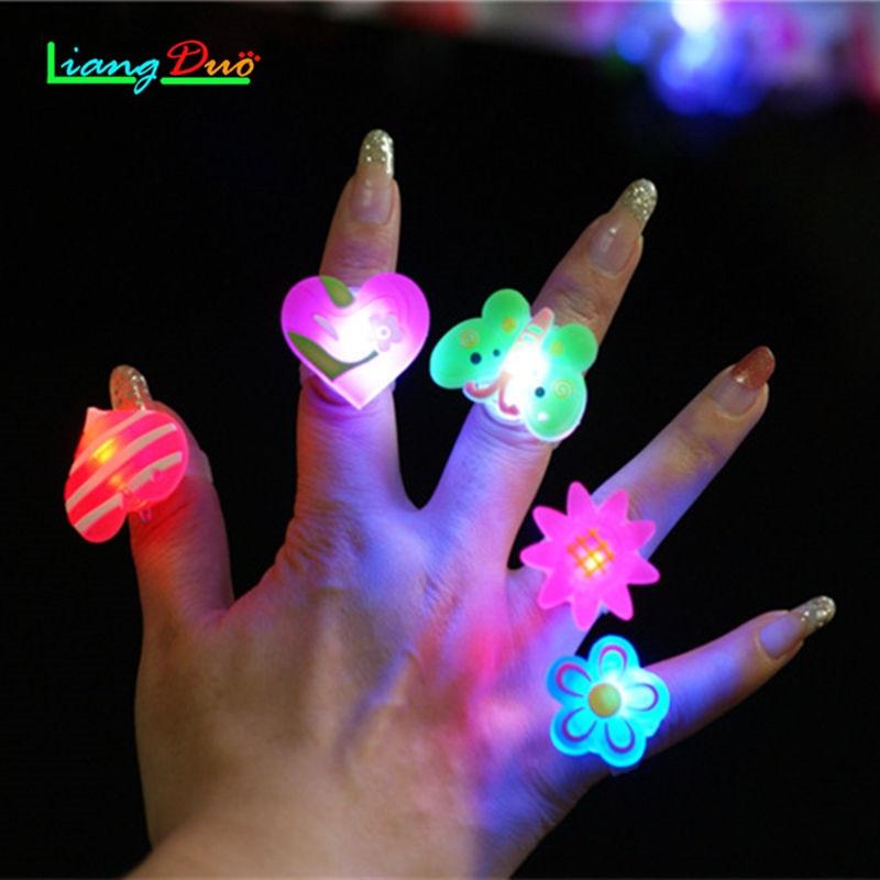 5 PCS/LOT Children s Toys Variety Styles Luminous Small Gifts LED Flash Rings Cartoon Ring Lamps flashing Boy Girl Finger Lamp