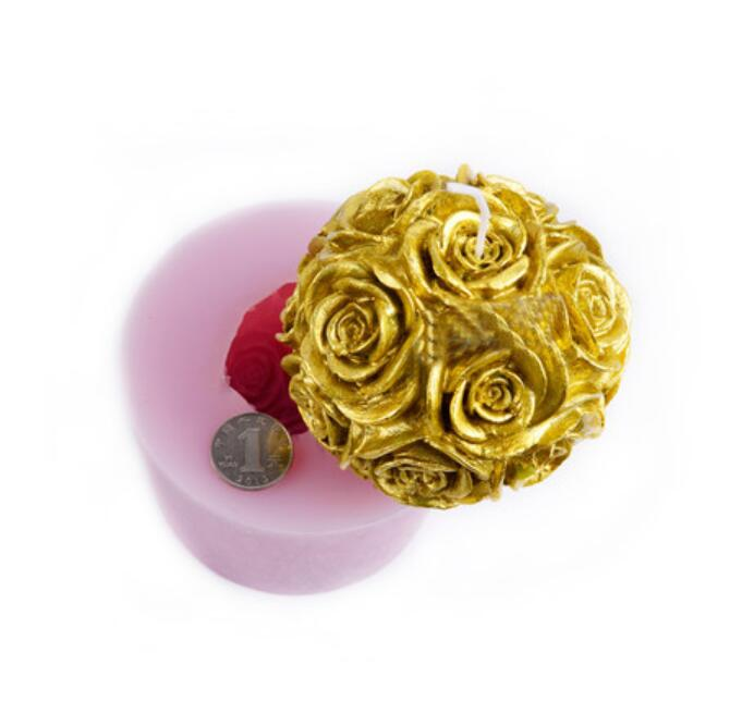 Moule en Silicone 3D grande boule de rose moules à chocolat gel de silice fleur bougie moule à la main savon moule résine argile arôme pierre moules