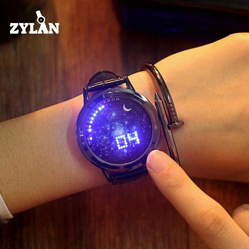 ZYLAN Smart Watch Touch Screen LED Men Women Wristwatches Blue Red Light Starry Sky Ladies Male Watches Female Hours makibes touch screen led watch with red light rectangle dial