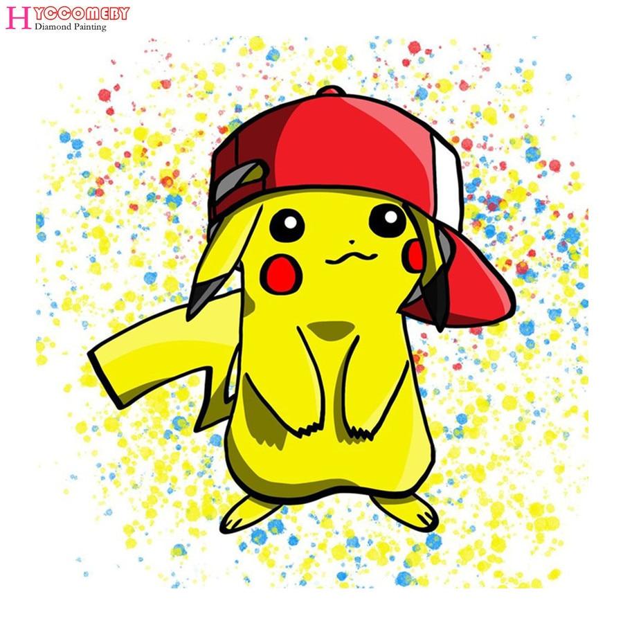 5d Square Diamond Painting Cartoon Pokemon Pikachu Diy Diamond