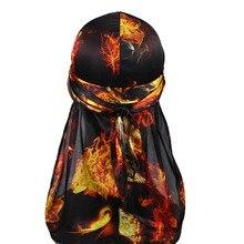 Unisex Men Women Fire Print Silk Durag Soft Bandana Hat Turban Headwear Long Tail Head Wrap Waves Do Durags