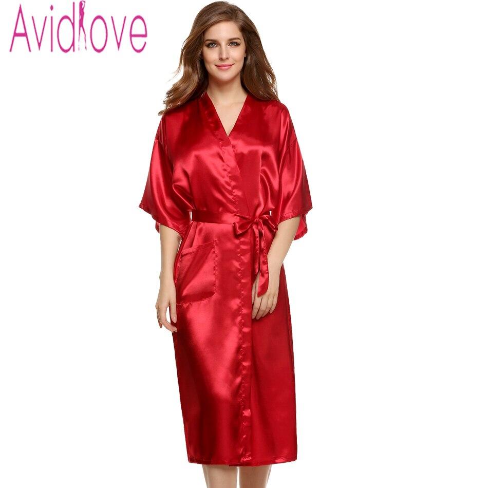 Avildlove 2016 Sexy Lady Long Robe Kimono Sexy Solid Nightwear Women Lingerie Pajamas Gown Bath Robe with Belt 7 Colors M-XXL U2
