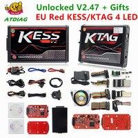 Online V2.47 Red EU Kess V5.017 Ktag V7.020 LED BDM Frame Kess V2 OBD2 Manager Tuning Kit 5.017 K Tag 7.020 4 LED ECU Programmer