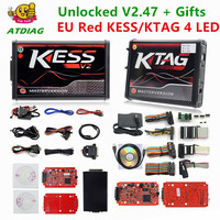 Online V2.47 Red EU Kess V5.017 Ktag V7.020 LED BDM Frame Kess V2 OBD2 Manager Tuning Kit 5.017 K Tag 7.020 4 LED ECU Programmer