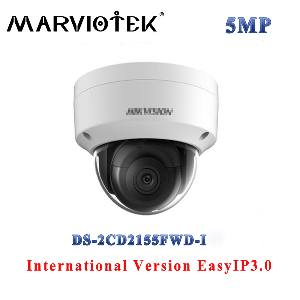 Face detection DS-2CD2155FWD-I HD 5MP mini dome CCTV camera POE up to 128GB SD card H.265+ IP67 IK10 30M IR security camera hik ip camera ds 2cd4026fwd ap ultra low light 128gb onvif rj45 intrusion detection face detection recognition