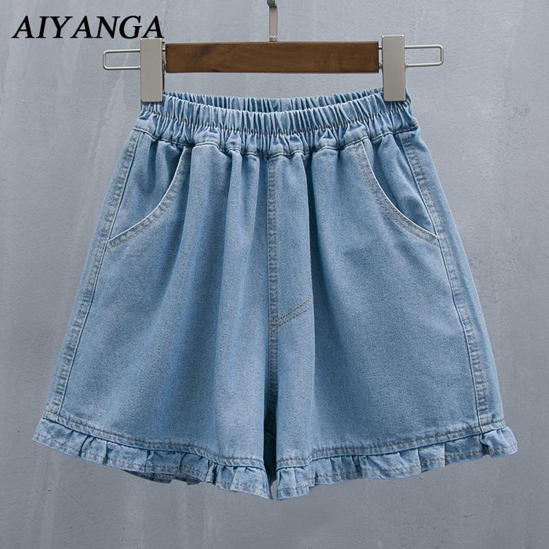 S/M/L/2XL/3XL/4XL/5XL Basic Denim Shorts For Women Summer   Jeans   2018 Wide Leg Shorts Female Casual Loose Plus Size Shorts Blue
