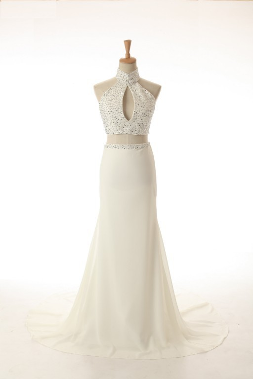 Sexy Champagne Ivory A Line Long   Prom     Dresses   Halter Beadings Two Pieces Party Gowns Custom Made Vestidos de Novia ZY4545