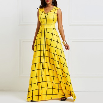 Kinikiss 2019 Summer Dress Women Sleeveless Plaid Twilled Satin Yellow Party Dress Elegant Pocket Notched Lapel Blue Dress Long Kinikiss Ali/hoodmat.com