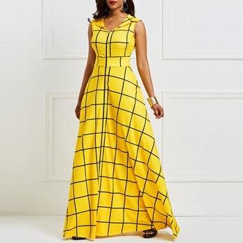 ae71fead35f2 Kinikiss 2019 vestido de verano sin mangas mujer cuadros satén twilled  vestido de fiesta amarillo elegante bolsillo con muescas solapa vestido  azul ...