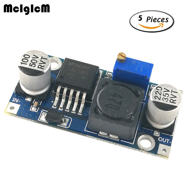 MCIGICM 5pcs DC-DC Step Down Converter Module LM2596 DC 4.0~40 to 1.3-37V Adjustable Voltage Regulator