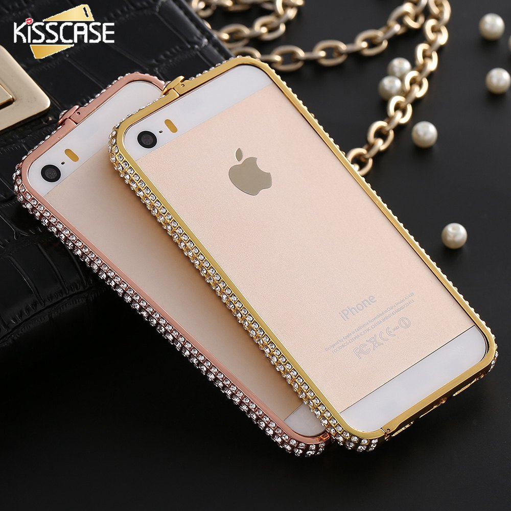 KISSCASE Luxury Diamond Bumper For iPhone 6 6S Plus 7 7 Plus Case Metal Rhinestone Diamond Back Frame For iPhone 6 6sPlus Bumper