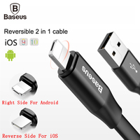 Baseus Reversible Micro USB Cable For iPhone 7 6 6s 5 5s se Android For Samsung HTC LG Fast Data Sync Charger Mobile Phone Cable