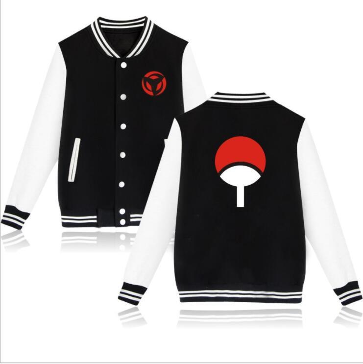 Naruto Jacket Baseball Men Sasuke Uchiha Winter Jackets Hooded Windbreaker 2019 New Deisgn Baseball Hooded Plus Size