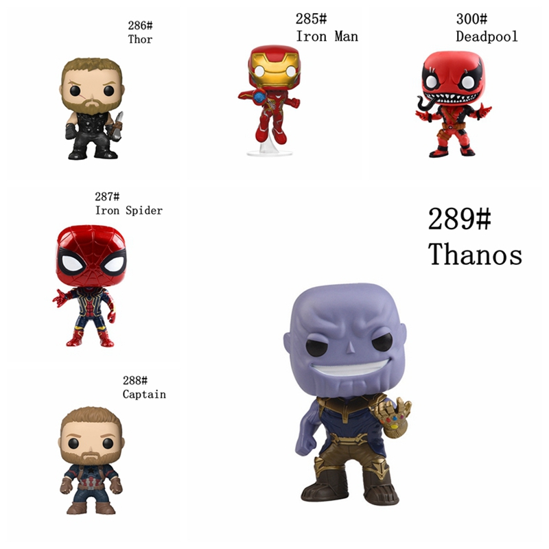 10cm Avengers: Infinity War Thanos Deadpool Thor Captain Iron Spider Man LOKI POP Action Figures Doll Toy Kids Gifts NO BOX hot toy 16cm avengers 2 thor loki villain heros action figure collectible pvc model toy movable joints doll for kids gifts