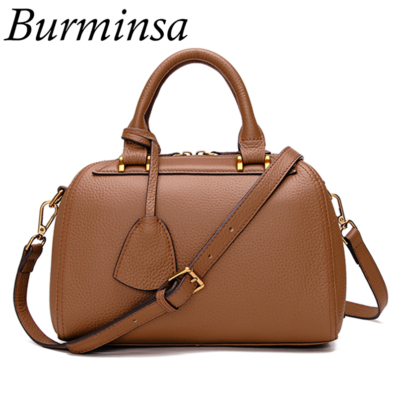 цены  Burminsa Brand Boston Genuine Leather Bag Luxury Designer Handbags High Quality Female Shoulder Bags Crossbody Bags For Women