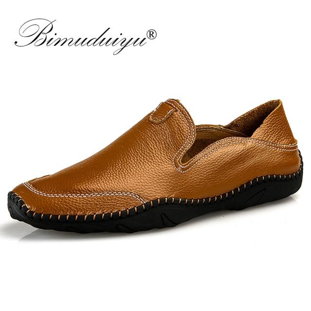 BIMUDUIYU Grote Maat 38-47 Slip op Casual Italiaanse Mannen Loafers Mode Handgemaakte Lederen mannen Zachte Mocassins flats Schoenen