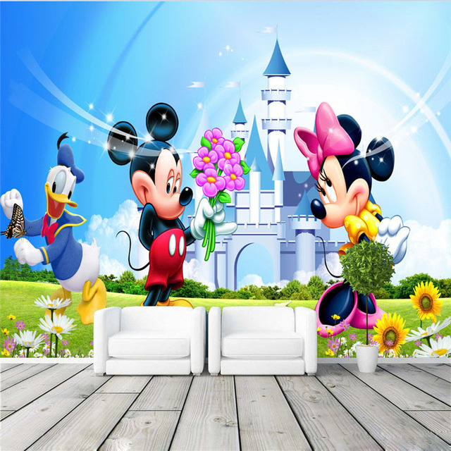 Lovely Mickey Minnie Wallpaper Cartoon Photo Wall Mural Room Decor Art Boy Girls