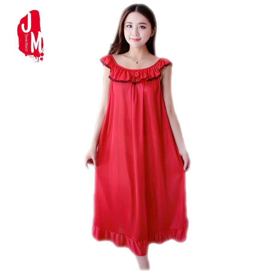 69e71e958b57 Women Nightgowns Silk Satin long Night Dress Sexy Spaghetti Strap V-Neck  Lace Home Dress