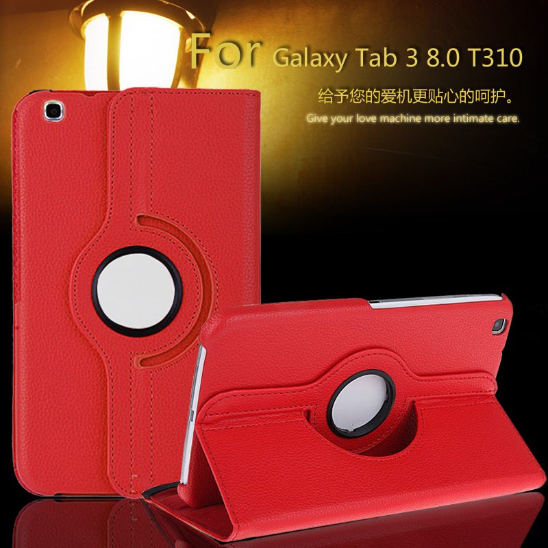 купить For Case Samsung Galaxy Tab 3 8.0 T311,T310,T315 Smart Stand Tablet PU Leather Case Cover 360 Rotating + Film недорого